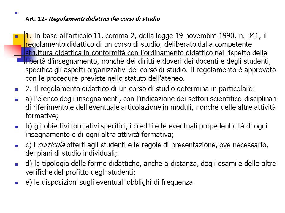 Art. 12- Regolamenti didattici dei corsi di studio 1.