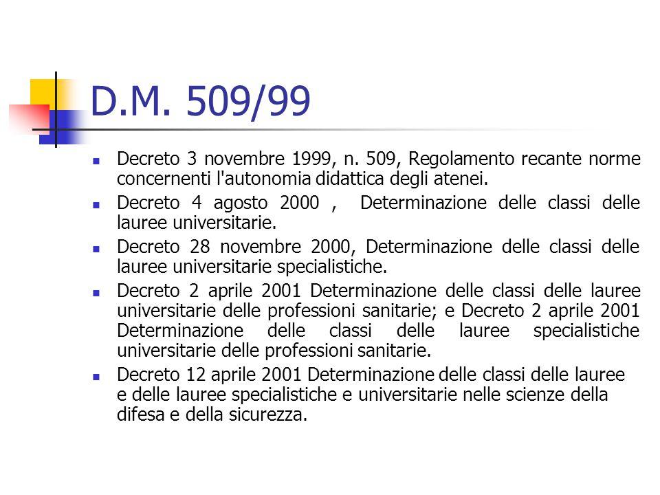 D.M. 509/99 Decreto 3 novembre 1999, n.