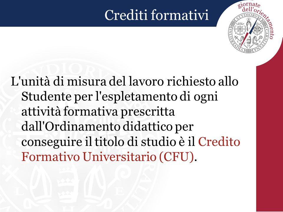 Crediti formativi L'unità di misura del lavoro richiesto allo Studente per l'espletamento di ogni attività formativa prescritta dall'Ordinamento didat