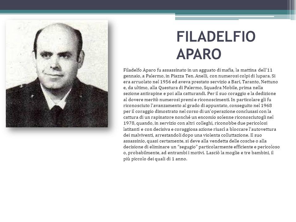 FILADELFIO APARO Filadelfo Aparo fu assassinato in un agguato di mafia, la mattina dell'11 gennaio, a Palermo, in Piazza Ten. Anelli, con numerosi col