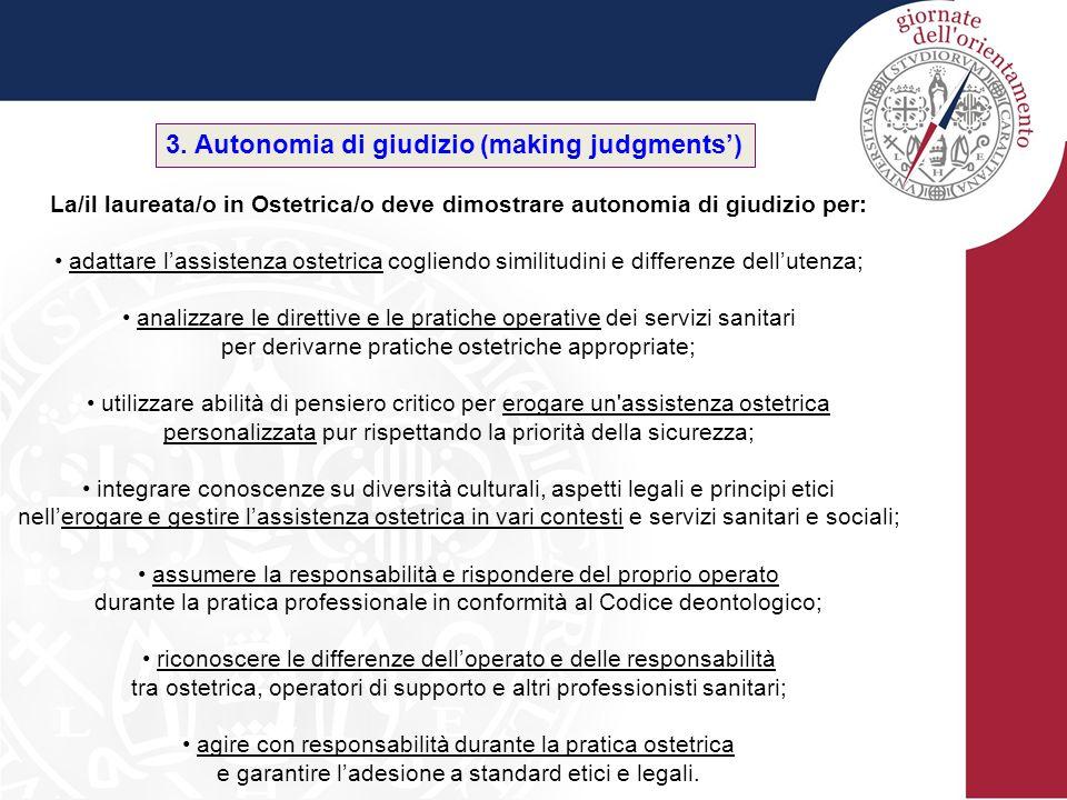3. Autonomia di giudizio (making judgments') La/il laureata/o in Ostetrica/o deve dimostrare autonomia di giudizio per: adattare l'assistenza ostetric