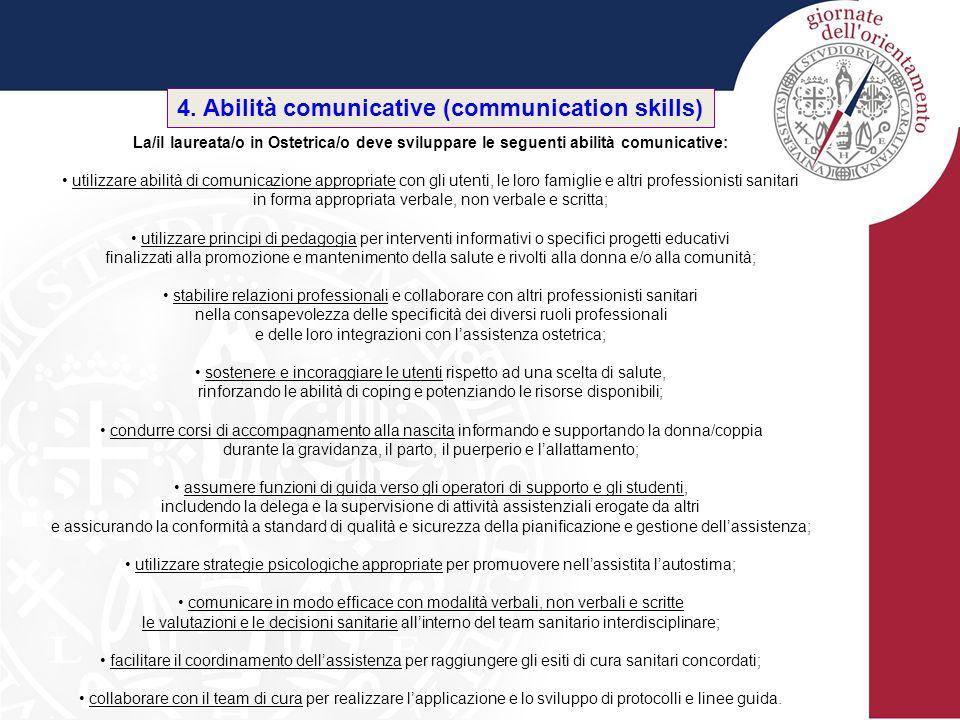 4. Abilità comunicative (communication skills) La/il laureata/o in Ostetrica/o deve sviluppare le seguenti abilità comunicative: utilizzare abilità di