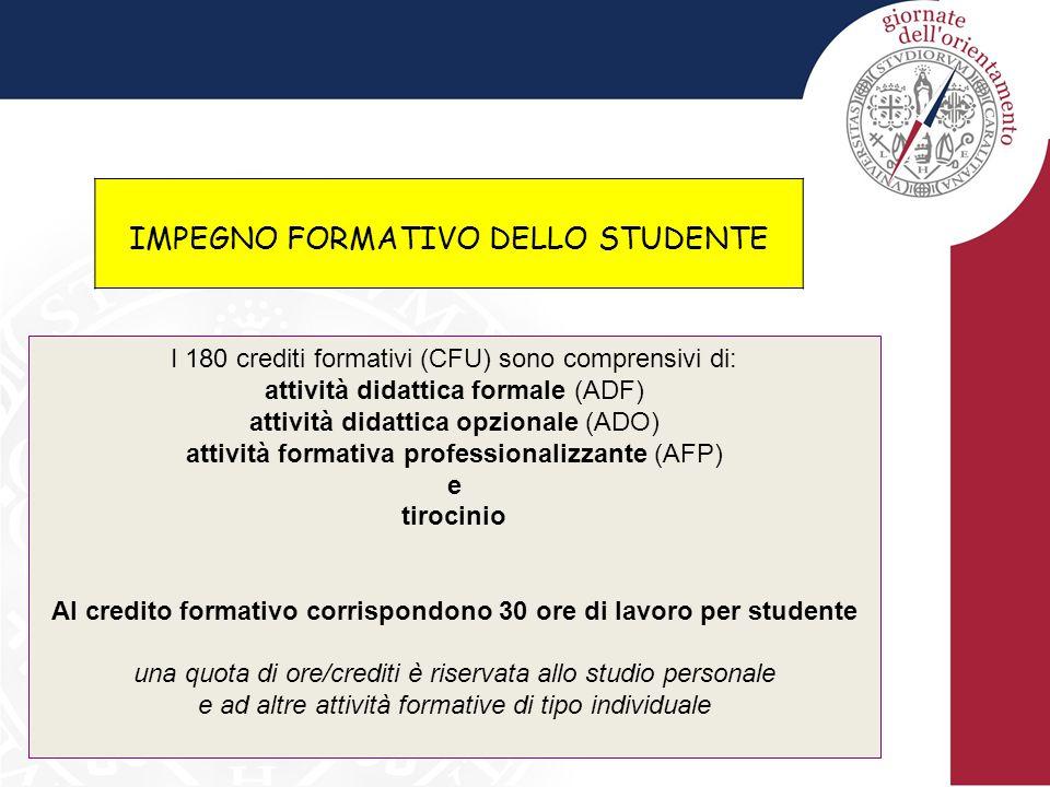 IMPEGNO FORMATIVO DELLO STUDENTE I 180 crediti formativi (CFU) sono comprensivi di: attività didattica formale (ADF) attività didattica opzionale (ADO