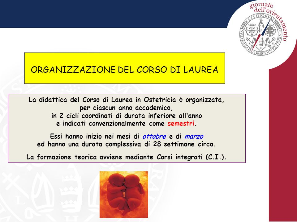 ORGANIZZAZIONE DEL CORSO DI LAUREA La didattica del Corso di Laurea in Ostetricia è organizzata, per ciascun anno accademico, in 2 cicli coordinati di