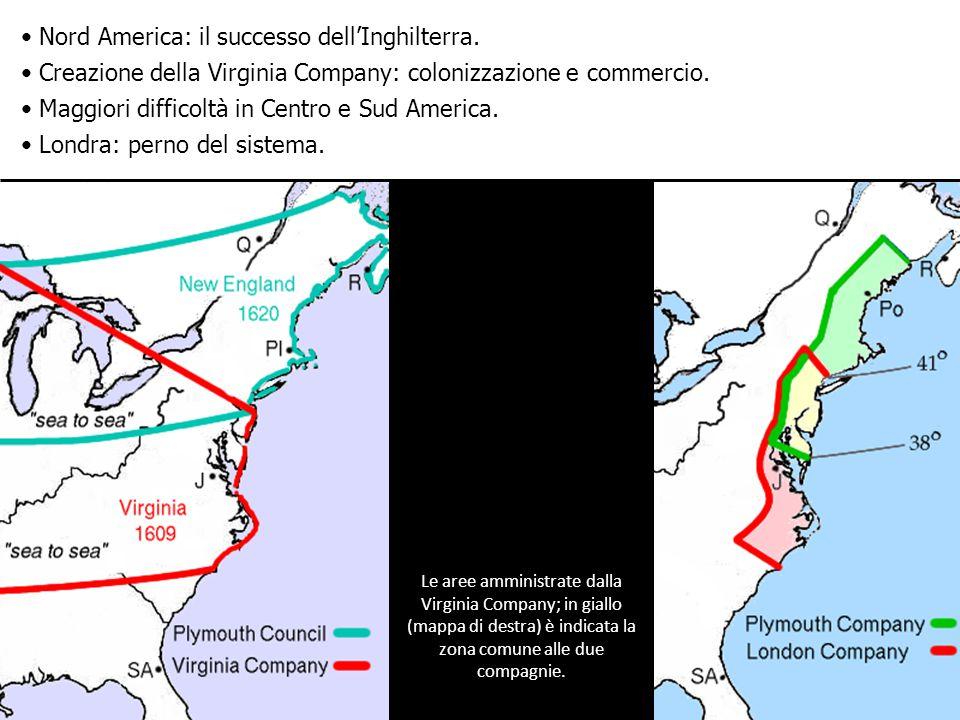 Le aree amministrate dalla Virginia Company; in giallo (mappa di destra) è indicata la zona comune alle due compagnie.