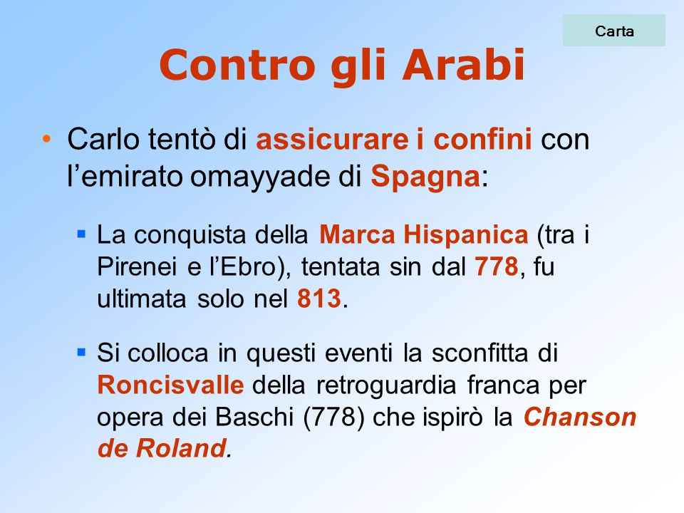 Contro gli Arabi Carlo tentò di assicurare i confini con l'emirato omayyade di Spagna:  La conquista della Marca Hispanica (tra i Pirenei e l'Ebro),