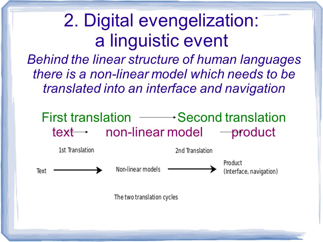 2. Digital evengelization: a linguistic event Behind the linear structure of human languages there is a non-linear model which needs to be translated