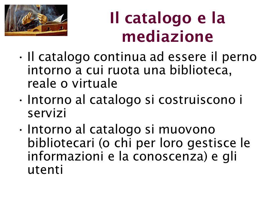 Il catalogo e la mediazione Il catalogo continua ad essere il perno intorno a cui ruota una biblioteca, reale o virtuale Intorno al catalogo si costruiscono i servizi Intorno al catalogo si muovono bibliotecari (o chi per loro gestisce le informazioni e la conoscenza) e gli utenti