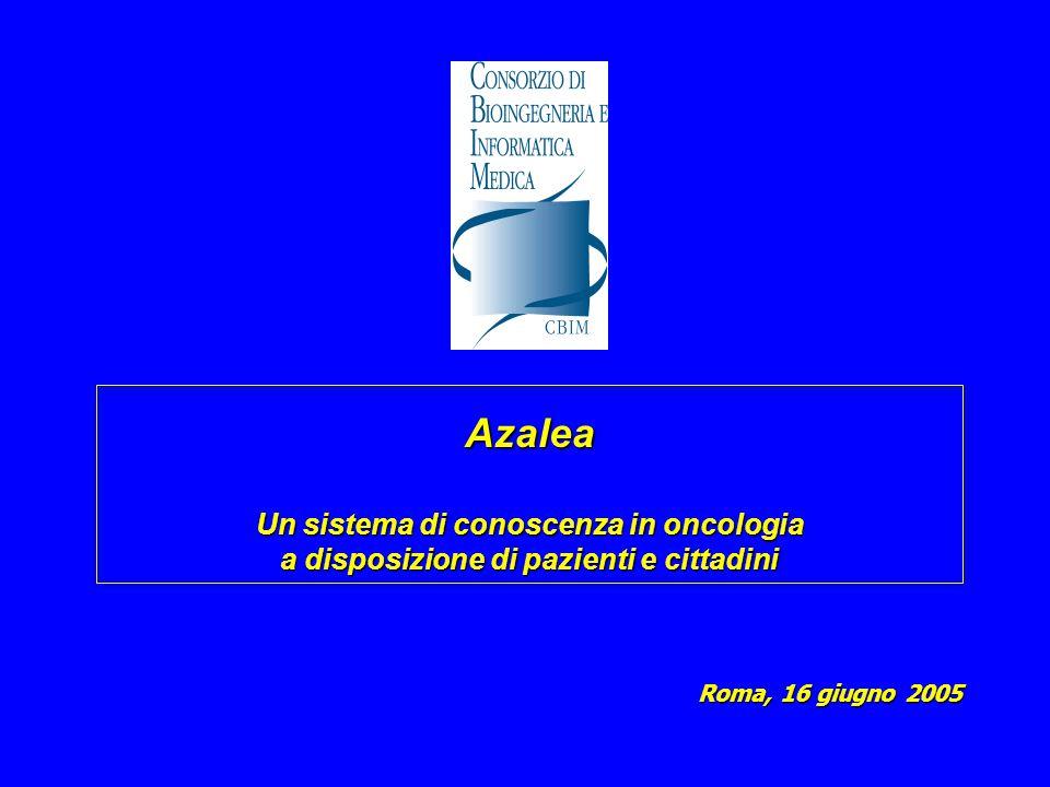 Azalea Un sistema di conoscenza in oncologia a disposizione di pazienti e cittadini Roma, 16 giugno 2005