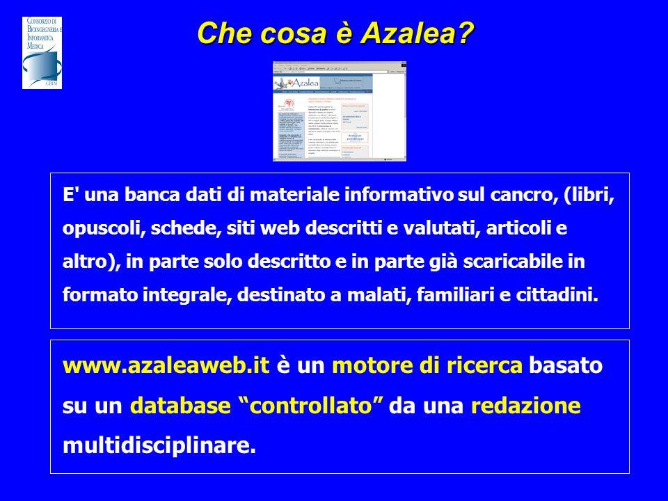 Che cosa è Azalea? E' una banca dati di materiale informativo sul cancro, (libri, opuscoli, schede, siti web descritti e valutati, articoli e altro),