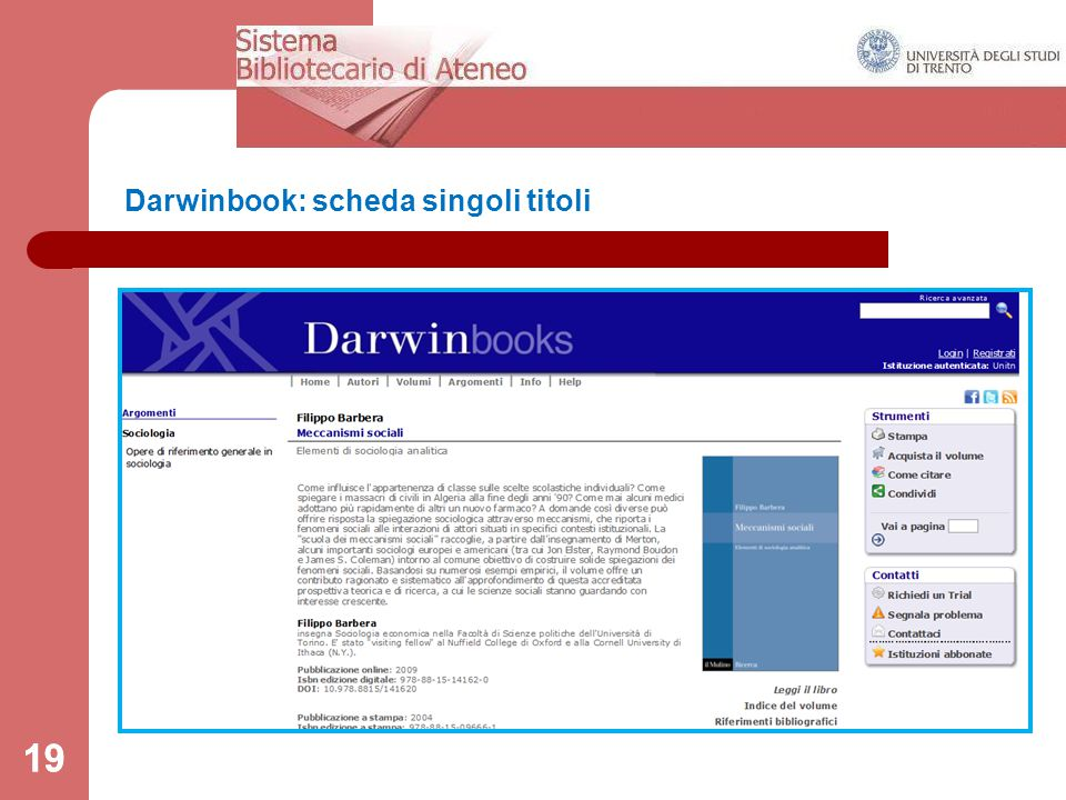 19 Darwinbook: scheda singoli titoli