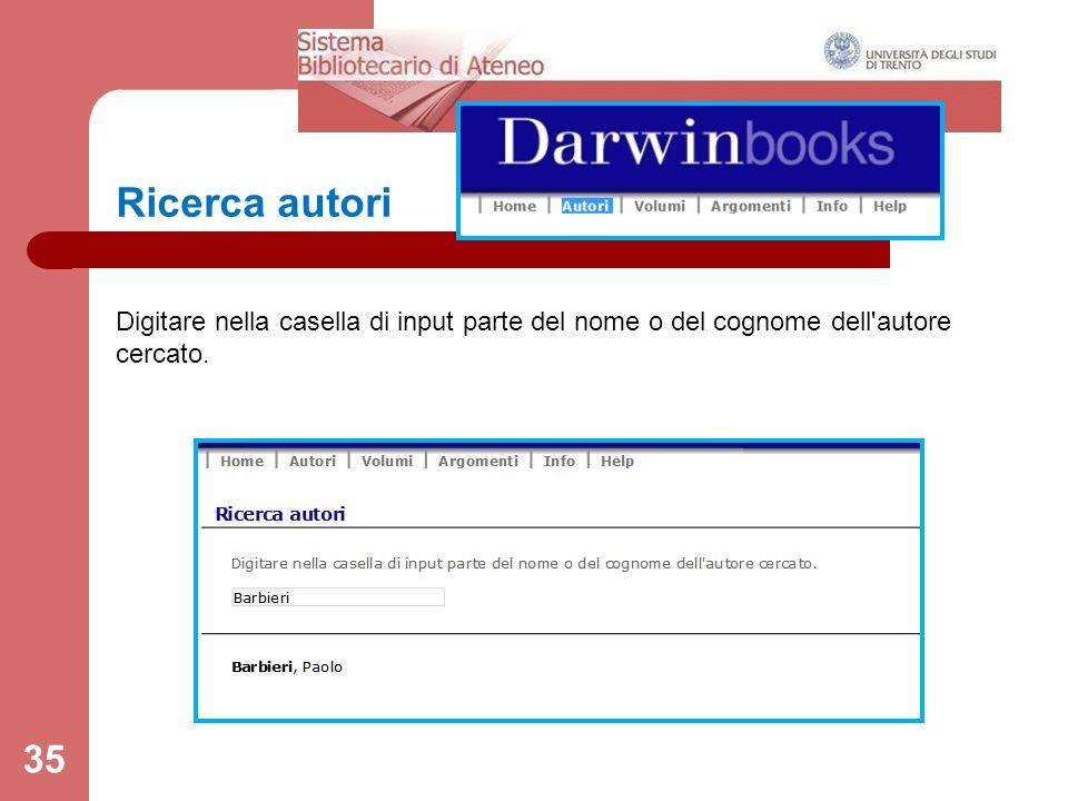 Ricerca autori 35 Digitare nella casella di input parte del nome o del cognome dell autore cercato.