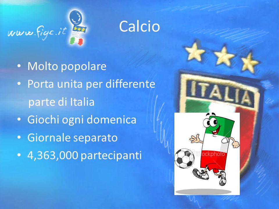 Calcio Molto popolare Porta unita per differente parte di Italia Giochi ogni domenica Giornale separato 4,363,000 partecipanti