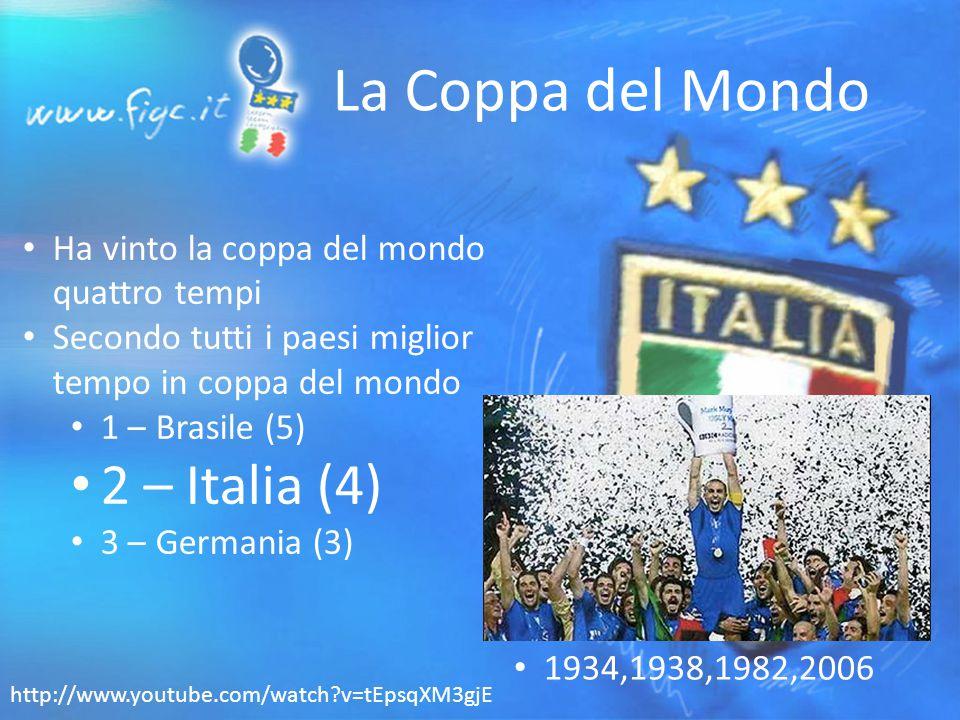 La Coppa del Mondo Ha vinto la coppa del mondo quattro tempi Secondo tutti i paesi miglior tempo in coppa del mondo 1 – Brasile (5) 2 – Italia (4) 3 – Germania (3) 1934,1938,1982,2006 http://www.youtube.com/watch v=tEpsqXM3gjE