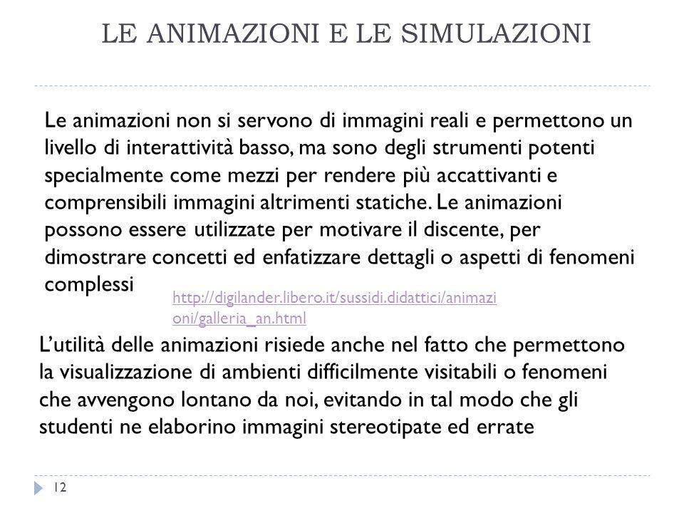 LE ANIMAZIONI E LE SIMULAZIONI Le animazioni non si servono di immagini reali e permettono un livello di interattività basso, ma sono degli strumenti