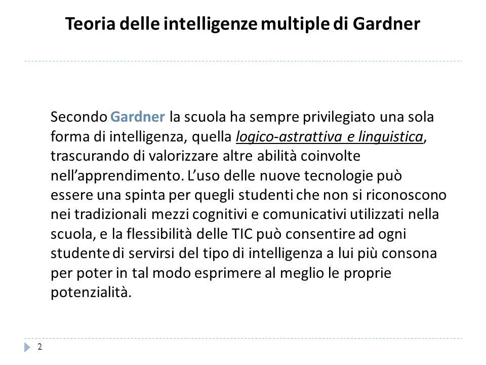 Teoria delle intelligenze multiple di Gardner Secondo Gardner la scuola ha sempre privilegiato una sola forma di intelligenza, quella logico-astrattiv