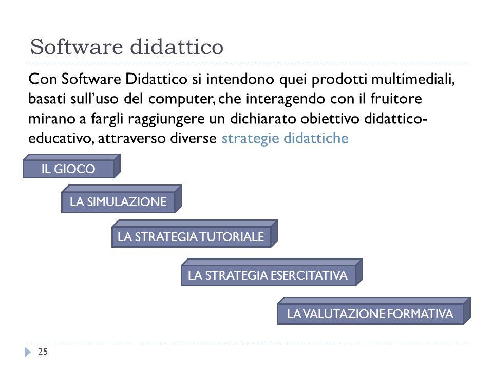Software didattico 25 Con Software Didattico si intendono quei prodotti multimediali, basati sull'uso del computer, che interagendo con il fruitore mi