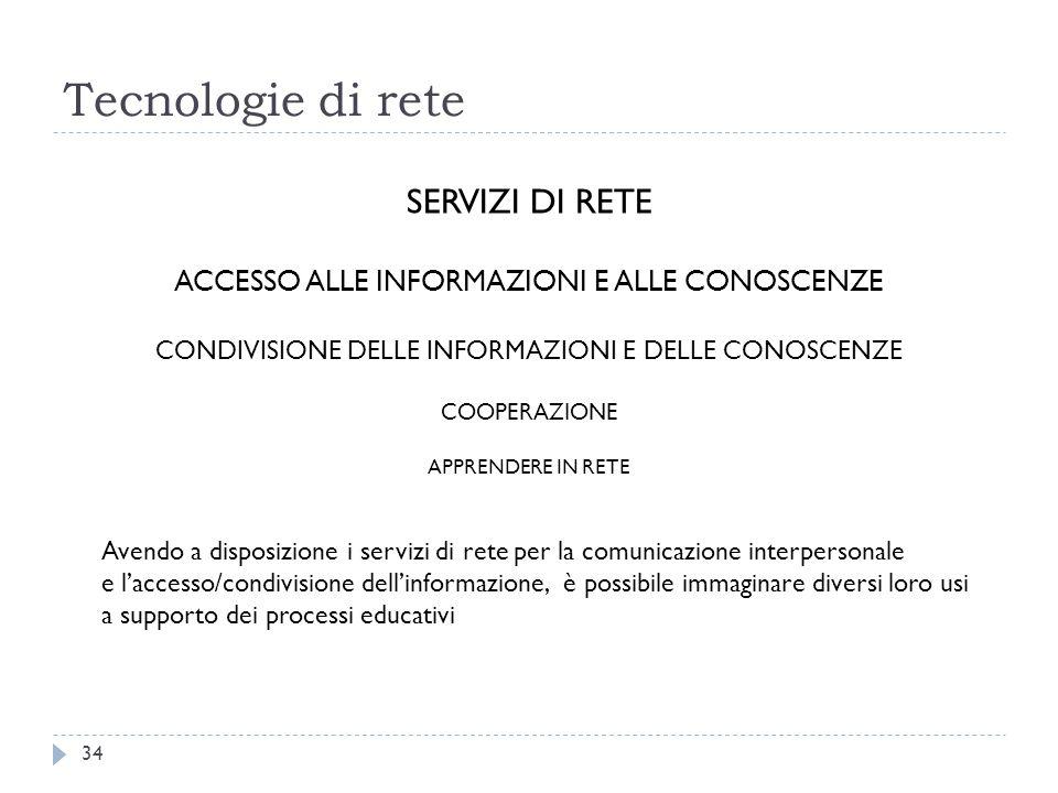 Tecnologie di rete 34 SERVIZI DI RETE ACCESSO ALLE INFORMAZIONI E ALLE CONOSCENZE CONDIVISIONE DELLE INFORMAZIONI E DELLE CONOSCENZE COOPERAZIONE APPR