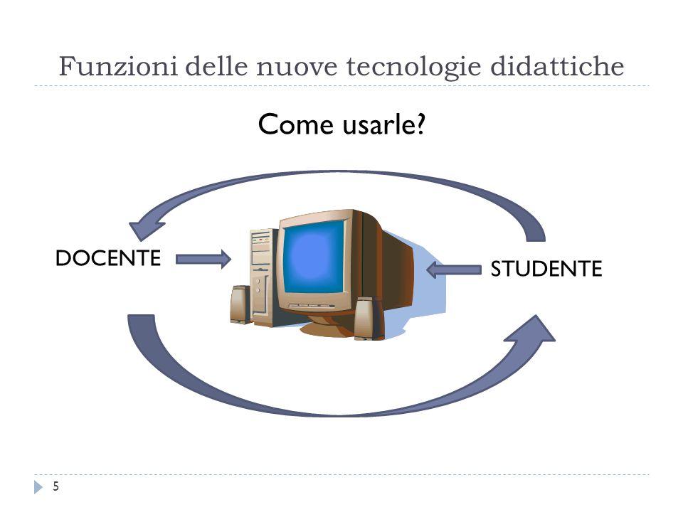 Funzioni delle nuove tecnologie didattiche Come usarle? DOCENTE STUDENTE 5