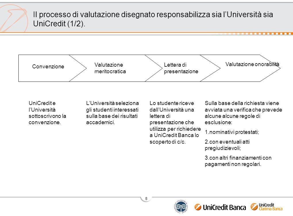8 Il processo di valutazione disegnato responsabilizza sia l'Università sia UniCredit (1/2).