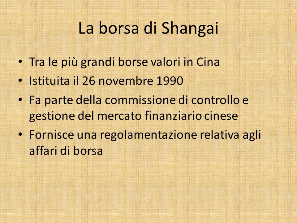 La borsa di Shangai Tra le più grandi borse valori in Cina Istituita il 26 novembre 1990 Fa parte della commissione di controllo e gestione del mercato finanziario cinese Fornisce una regolamentazione relativa agli affari di borsa