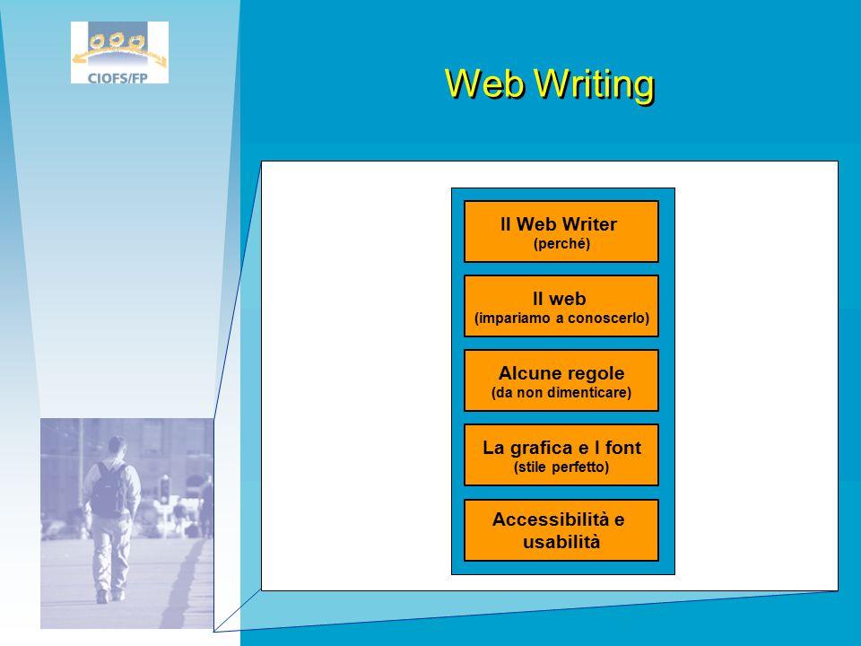 Web Writing Il web (impariamo a conoscerlo) Il Web Writer (perché) Alcune regole (da non dimenticare) La grafica e I font (stile perfetto) Accessibilità e usabilità