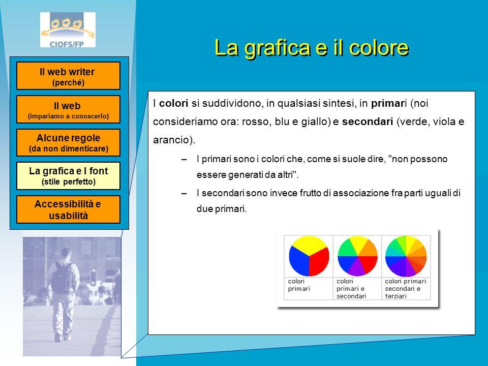 La grafica e il colore I colori si suddividono, in qualsiasi sintesi, in primari (noi consideriamo ora: rosso, blu e giallo) e secondari (verde, viola e arancio).