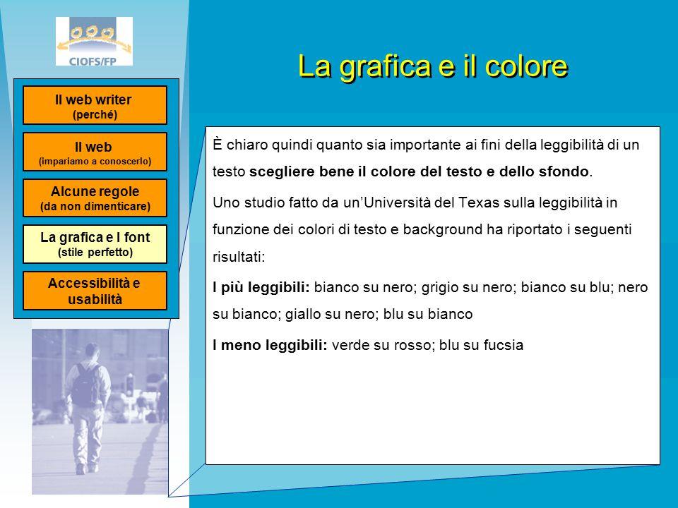 La grafica e il colore È chiaro quindi quanto sia importante ai fini della leggibilità di un testo scegliere bene il colore del testo e dello sfondo.