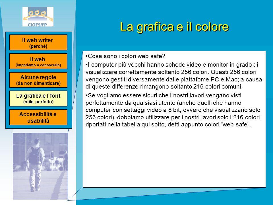La grafica e il colore Cosa sono i colori web safe.