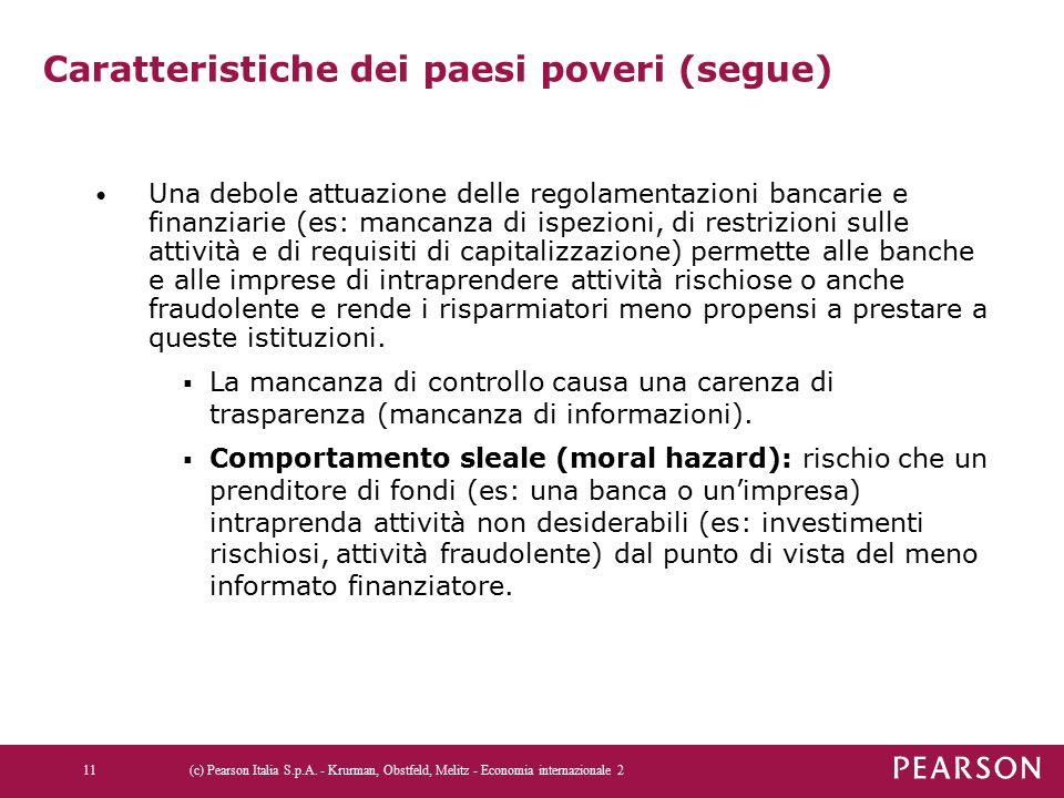 Caratteristiche dei paesi poveri (segue) Una debole attuazione delle regolamentazioni bancarie e finanziarie (es: mancanza di ispezioni, di restrizion