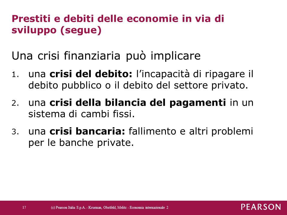 Prestiti e debiti delle economie in via di sviluppo (segue) Una crisi finanziaria può implicare 1. una crisi del debito: l'incapacità di ripagare il d