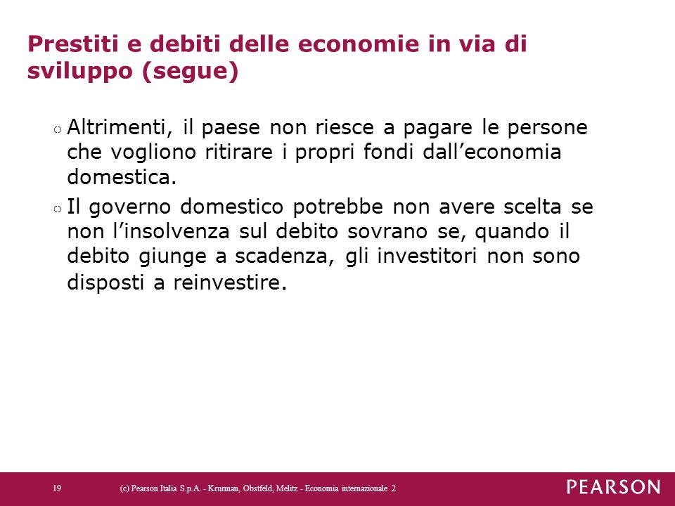 Prestiti e debiti delle economie in via di sviluppo (segue) ○ Altrimenti, il paese non riesce a pagare le persone che vogliono ritirare i propri fondi