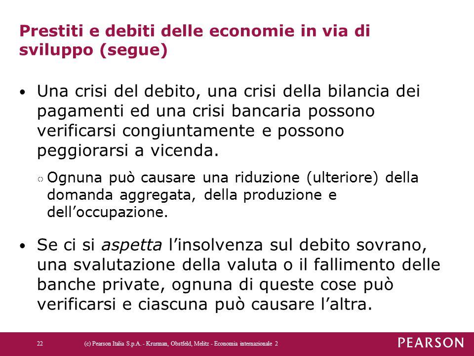 Prestiti e debiti delle economie in via di sviluppo (segue) Una crisi del debito, una crisi della bilancia dei pagamenti ed una crisi bancaria possono