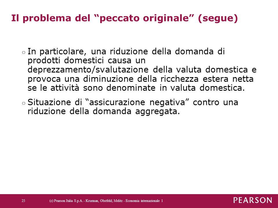 """Il problema del """"peccato originale"""" (segue) ○ In particolare, una riduzione della domanda di prodotti domestici causa un deprezzamento/svalutazione de"""