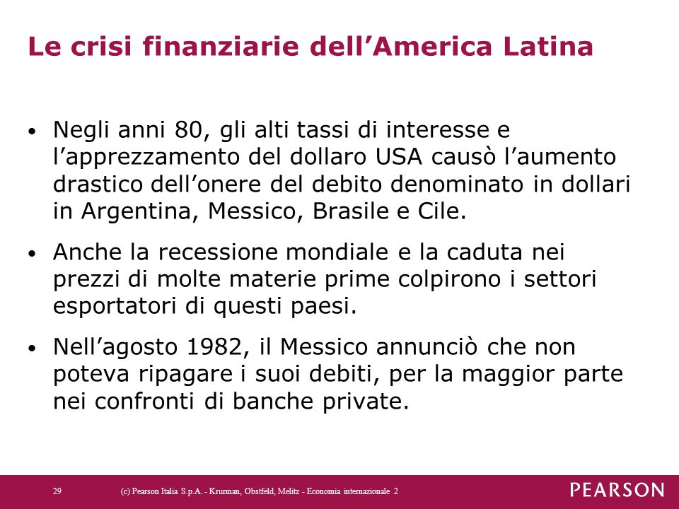 Le crisi finanziarie dell'America Latina Negli anni 80, gli alti tassi di interesse e l'apprezzamento del dollaro USA causò l'aumento drastico dell'onere del debito denominato in dollari in Argentina, Messico, Brasile e Cile.