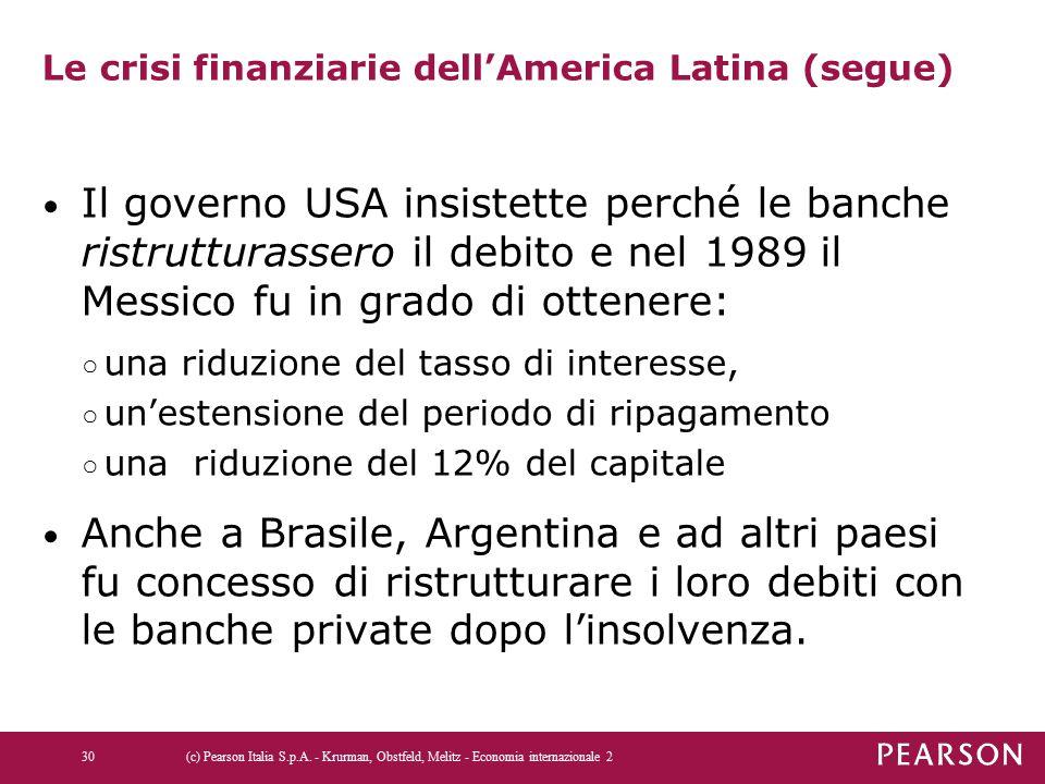 Le crisi finanziarie dell'America Latina (segue) Il governo USA insistette perché le banche ristrutturassero il debito e nel 1989 il Messico fu in gra