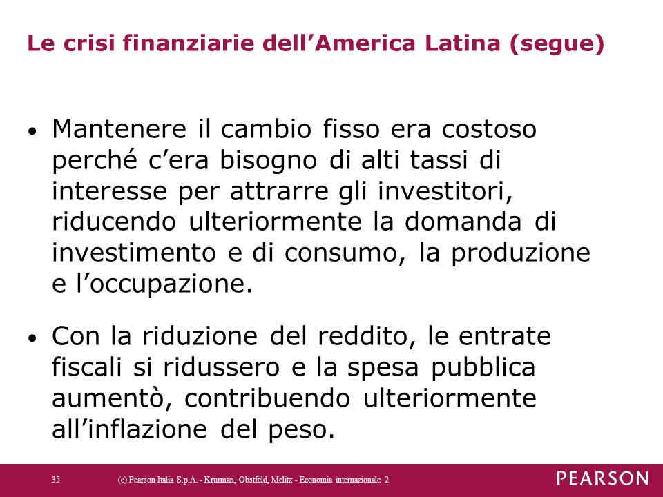 Le crisi finanziarie dell'America Latina (segue) Mantenere il cambio fisso era costoso perché c'era bisogno di alti tassi di interesse per attrarre gli investitori, riducendo ulteriormente la domanda di investimento e di consumo, la produzione e l'occupazione.