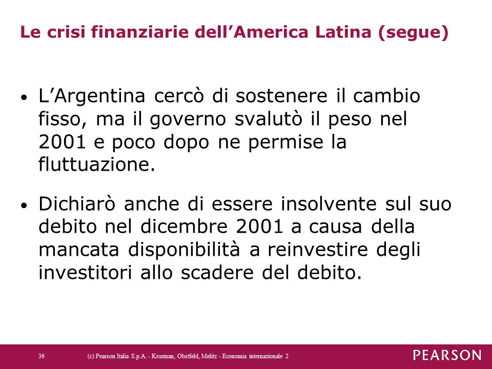 Le crisi finanziarie dell'America Latina (segue) L'Argentina cercò di sostenere il cambio fisso, ma il governo svalutò il peso nel 2001 e poco dopo ne permise la fluttuazione.