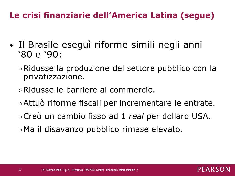 Le crisi finanziarie dell'America Latina (segue) Il Brasile eseguì riforme simili negli anni '80 e '90: ○ Ridusse la produzione del settore pubblico c