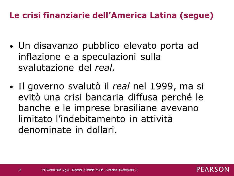 Le crisi finanziarie dell'America Latina (segue) Un disavanzo pubblico elevato porta ad inflazione e a speculazioni sulla svalutazione del real.