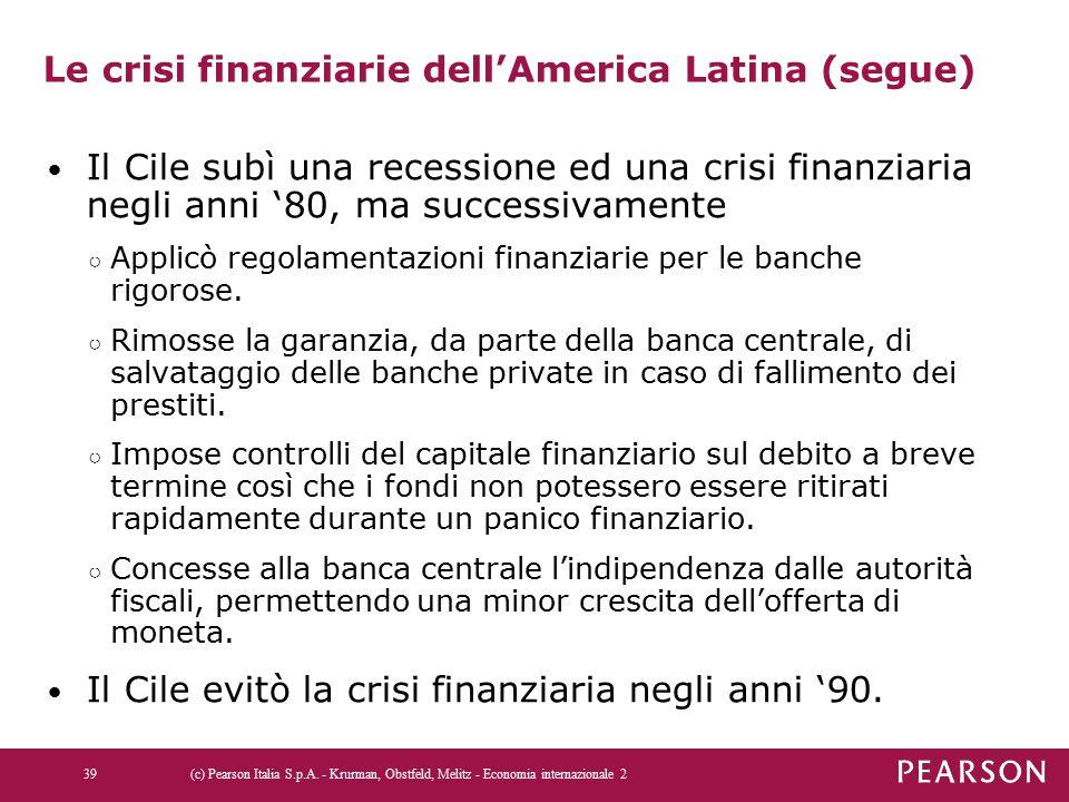 Le crisi finanziarie dell'America Latina (segue) Il Cile subì una recessione ed una crisi finanziaria negli anni '80, ma successivamente ○ Applicò regolamentazioni finanziarie per le banche rigorose.