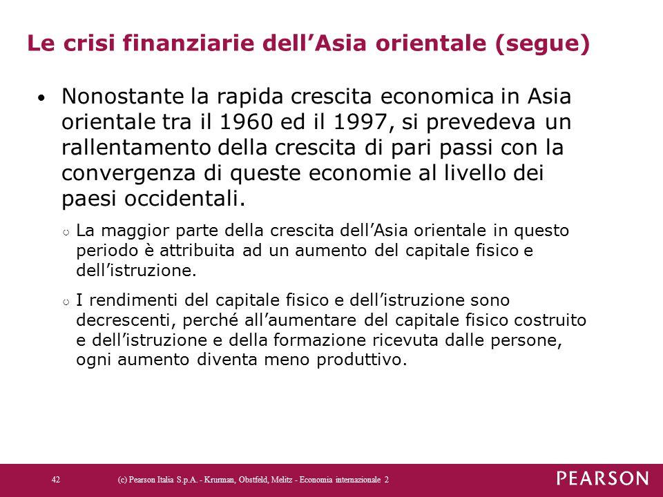 Le crisi finanziarie dell'Asia orientale (segue) Nonostante la rapida crescita economica in Asia orientale tra il 1960 ed il 1997, si prevedeva un ral
