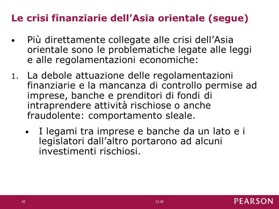 12-43 Le crisi finanziarie dell'Asia orientale (segue) Più direttamente collegate alle crisi dell'Asia orientale sono le problematiche legate alle leggi e alle regolamentazioni economiche: 1.
