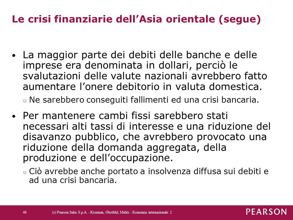Le crisi finanziarie dell'Asia orientale (segue) La maggior parte dei debiti delle banche e delle imprese era denominata in dollari, perciò le svaluta