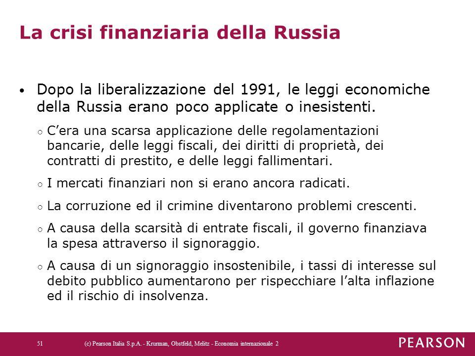 La crisi finanziaria della Russia Dopo la liberalizzazione del 1991, le leggi economiche della Russia erano poco applicate o inesistenti. ○ C'era una