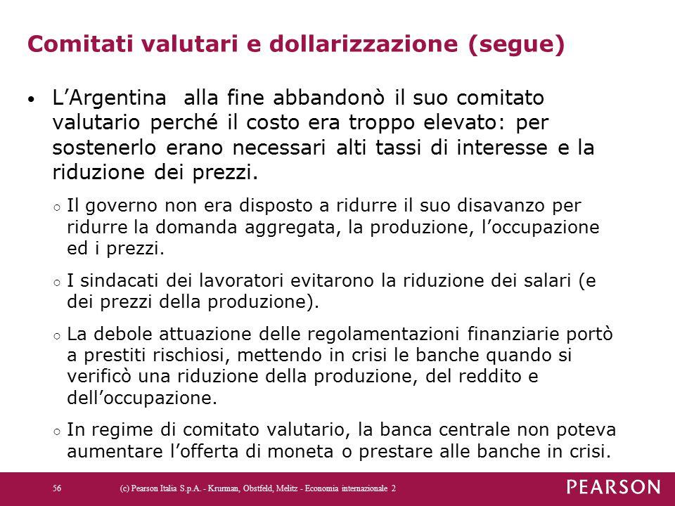 Comitati valutari e dollarizzazione (segue) L'Argentina alla fine abbandonò il suo comitato valutario perché il costo era troppo elevato: per sostener