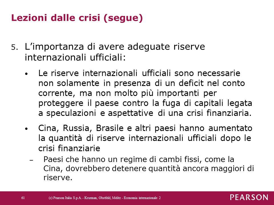 Lezioni dalle crisi (segue) 5. L'importanza di avere adeguate riserve internazionali ufficiali: Le riserve internazionali ufficiali sono necessarie no
