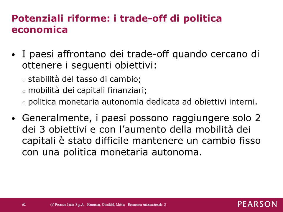 Potenziali riforme: i trade-off di politica economica I paesi affrontano dei trade-off quando cercano di ottenere i seguenti obiettivi: ○ stabilità de