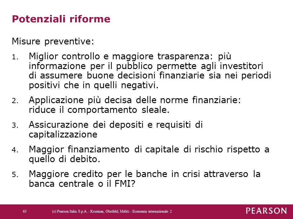 Potenziali riforme Misure preventive: 1. Miglior controllo e maggiore trasparenza: più informazione per il pubblico permette agli investitori di assum