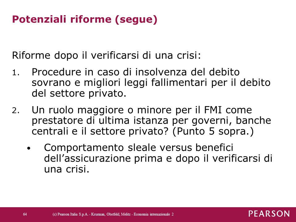 Potenziali riforme (segue) Riforme dopo il verificarsi di una crisi: 1.